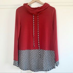 White Birch Gingham Red Cowl Neck Long Sleeve Top